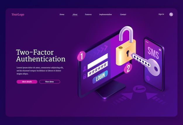 Twofactor authentication isometric landing page