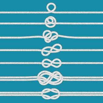 Tying knot. nautical tied rope knots, marine ropes and wedding cordage divider  illustration set