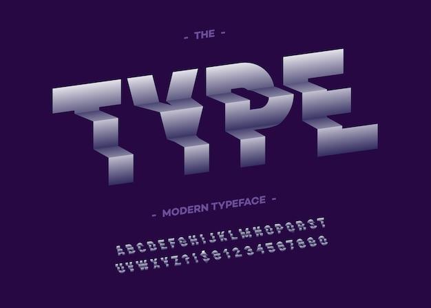 유형 글꼴 3d 타이포그래피 산세 리프 스타일
