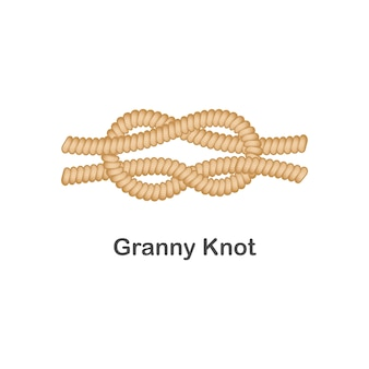 Type of nautical or marine node granny knot for rope with a loop.