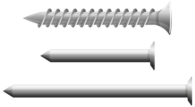 흰색 배경에 고립 된 나사의 종류