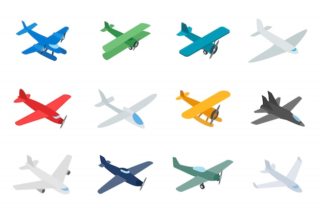 Type of plane icon set on white background