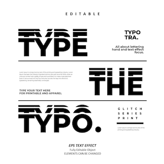 Type the typo glitch black series stacked text effect editable premium vector