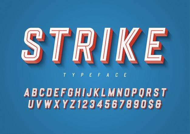 Удар модный спортивный шрифт с алфавитом, typef