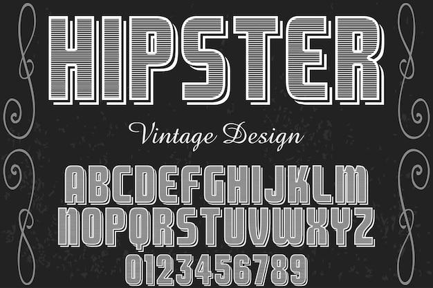 Typeface label design hipster