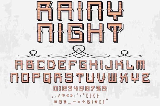 Typeface label design rainy night