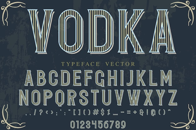 Typeface set with word  vodka