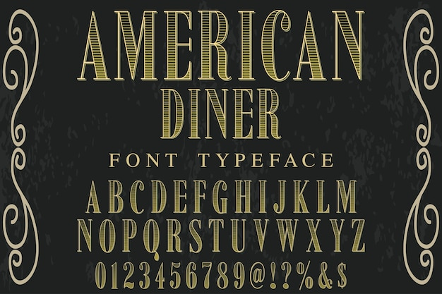 Typeface with the word american diner