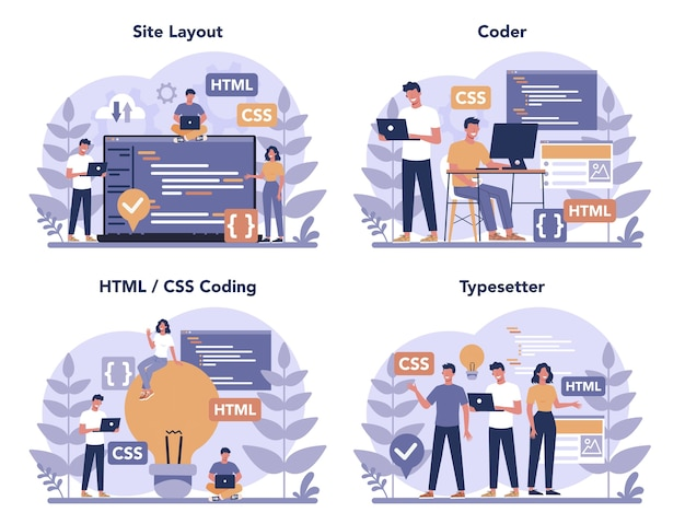 Typersetter concept set. website constructing. process of creating website, coding, programming, constructing interface and creating content. isolated vector illustration