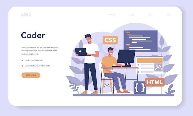 Typersetter web banner or landing page. website constructing. process of creating website, coding, programming, constructing interface and creating content.