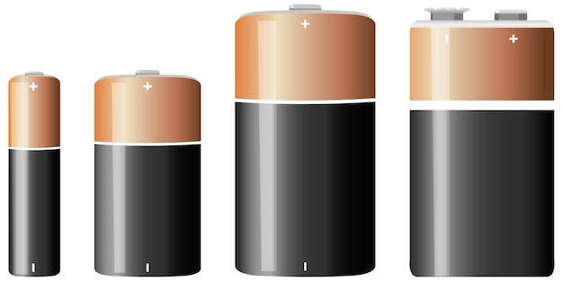Tipi di batterie alcaline isolati su sfondo bianco