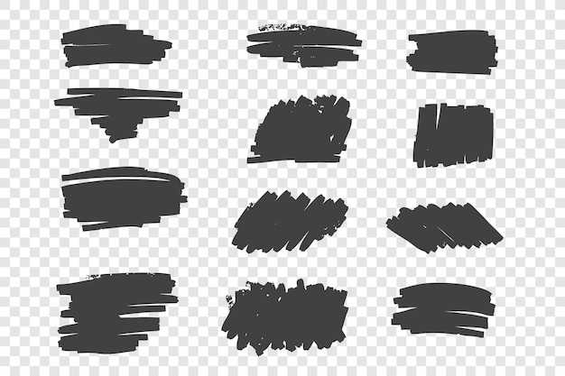 Types of black pencil strokes hand drawn set