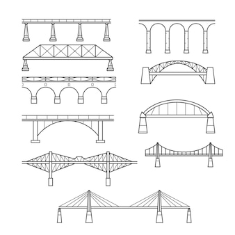 Types of bridges in linear style set - set icon bridges