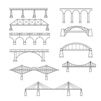 Types of bridges in linear style set - set icon bridges