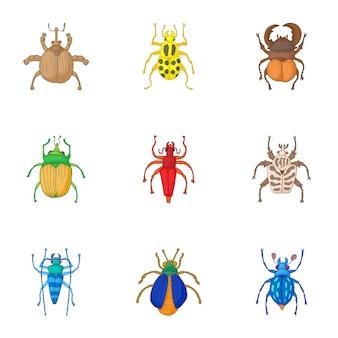 Types of bugs set, cartoon style