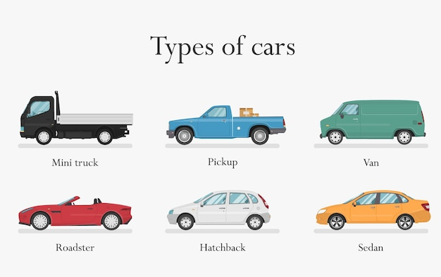 Types of cars. transport design over white background,  illustration.