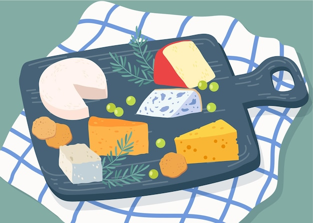 Types of cheese on wooden board illustration