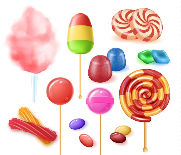 Types colorful fruit candies on white background.