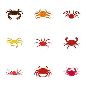 Types of crab set, cartoon style