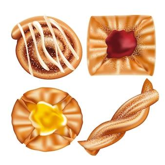 Types of danish flaky, sweet pastries