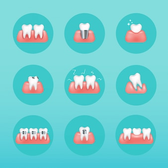 Types of dental clinic services. stomatology and dental procedures  icons. toothcare  illustration.   style modern vector illustration concept.
