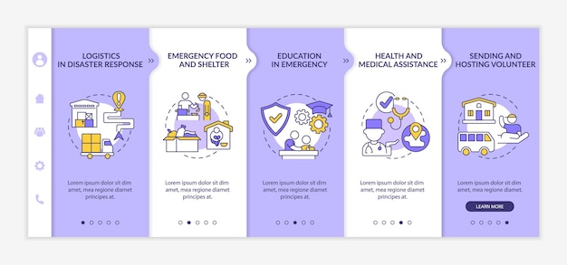Types of humanitarian aid onboarding vector template. responsive mobile website with icons. web page walkthrough 5 step screens. medical assistance color concept with linear illustrations