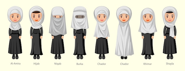 Types of islamic traditional veils of female in cartoon character