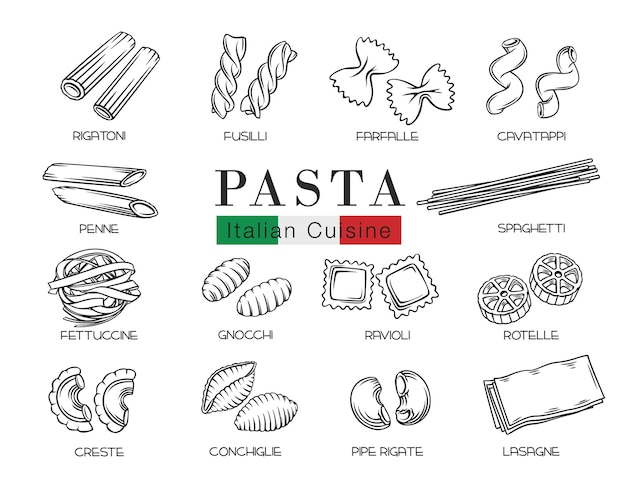 Типы итальянской пасты или макароны наброски иллюстрации