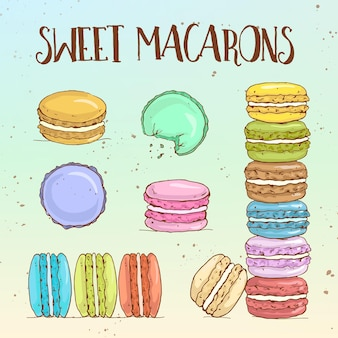 Types of macarons, hand drawn sketch and color.