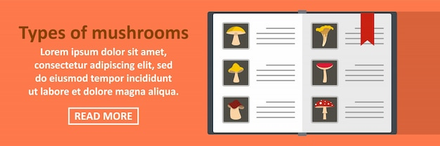 Types of mushrooms banner template horizontal concept