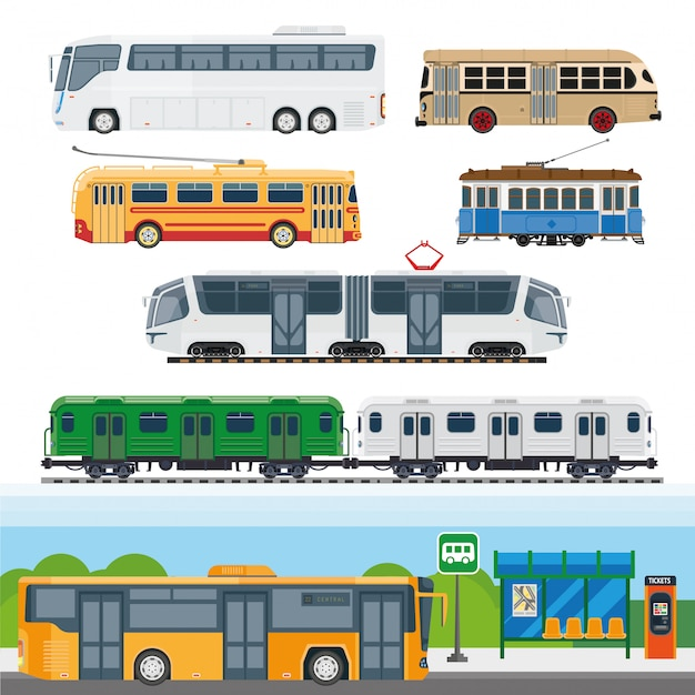 Типы автобусов Premium векторы