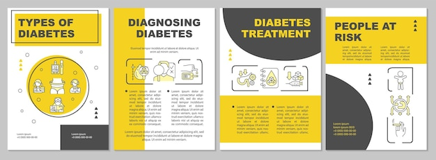 당뇨병 브로셔 템플릿의 종류입니다. 질병 진단. 전단지, 소책자, 전단지 인쇄, 선형 아이콘이 있는 표지 디자인. 프레젠테이션, 연례 보고서, 광고 페이지용 벡터 레이아웃