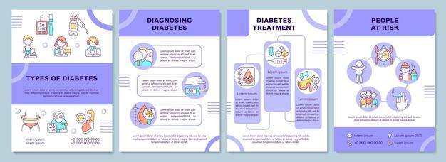 Типы шаблонов брошюры диабета. диагностика болезни. флаер, буклет, печать листовок, дизайн обложки с линейными иконками.