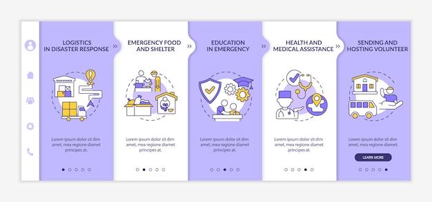 인도적 지원 온보딩 벡터 템플릿의 유형입니다. 아이콘이 있는 반응형 모바일 웹사이트입니다. 웹 페이지 연습 5단계 화면. 선형 삽화가 있는 의료 지원 색상 개념