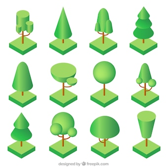 アイソメトリックデザインの木の種類