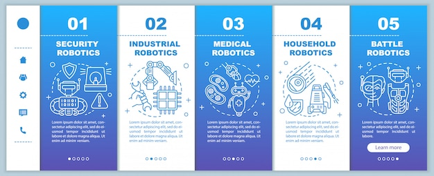 Types robotics onboarding mobile web pages template. cybernetics. responsive smartphone website interface idea with linear illustrations. webpage walkthrough step screens. color concept
