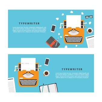 タイプライターのバナー。