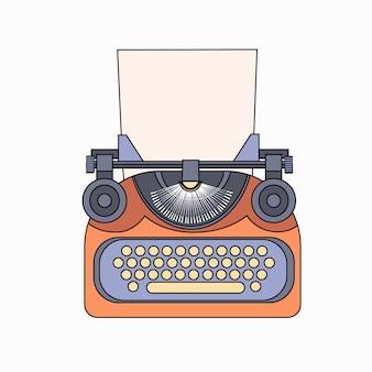 Typewriter icon retro style flat