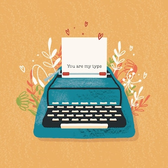 Typewriter and love note with hand lettering. colorful hand drawn illustration for happy valentines day. greeting card with flowers and decorative elements.