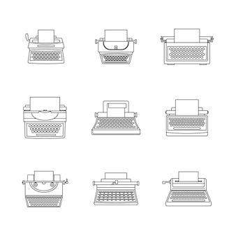 Typewriter machine keys icons set