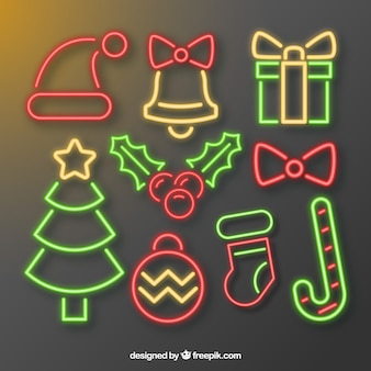 Typical elements of christmas in neon