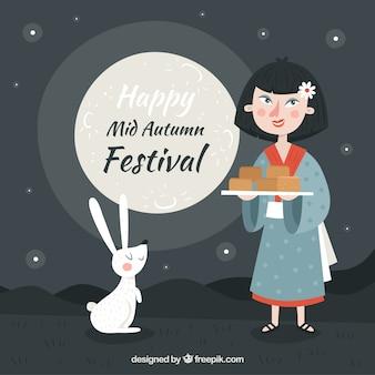 Типичная еда для празднования, фестиваль середины осени