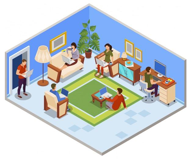 Composizione isometrica tipica giornata freelance con persone che condividono lo spazio di lavoro nell'appartamento accogliente soggiorno