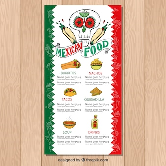 Typical mexican food menu