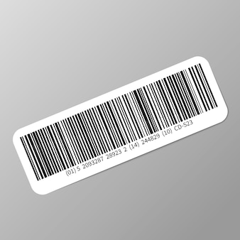 Typical realistic barcode sticker with shadow on gray