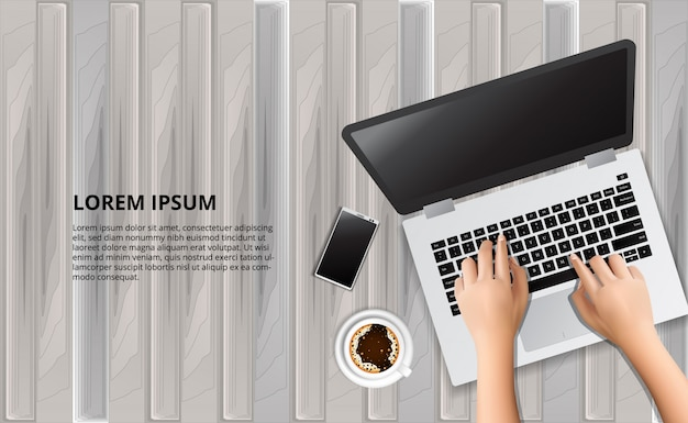Typing laptop on the wood table with illustration of smart phone and coffee