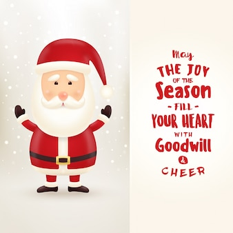 Typographic christmas greeting card with santa claus character on light colored snowing background - may the joy of the season fill your heart with goodwill and cheer