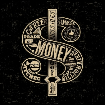 Typographic creative handdrawn retro dollar.