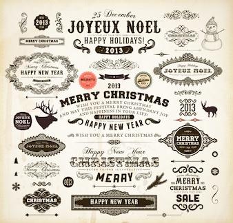 Typographic invitation ornamental flourish set