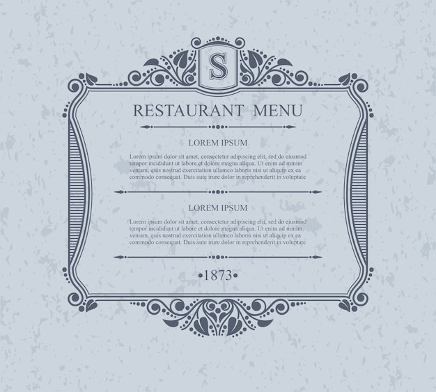 Типографские элементы дизайна меню ресторана, каллиграфический изящный шаблон.